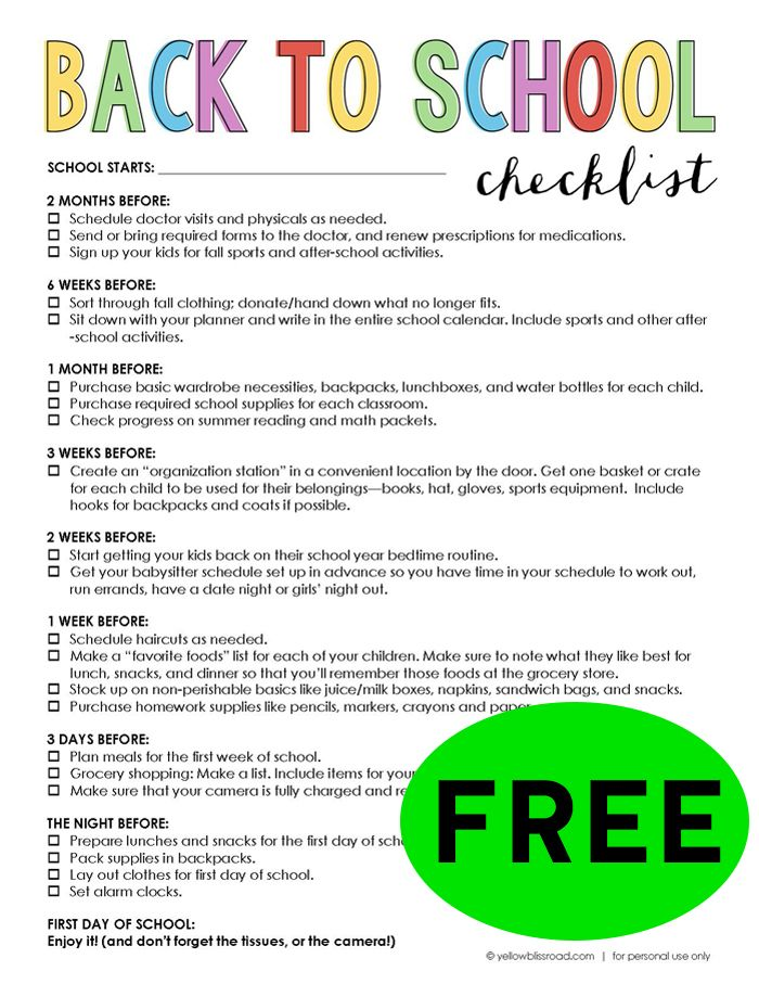FREE Back To School Checklist!