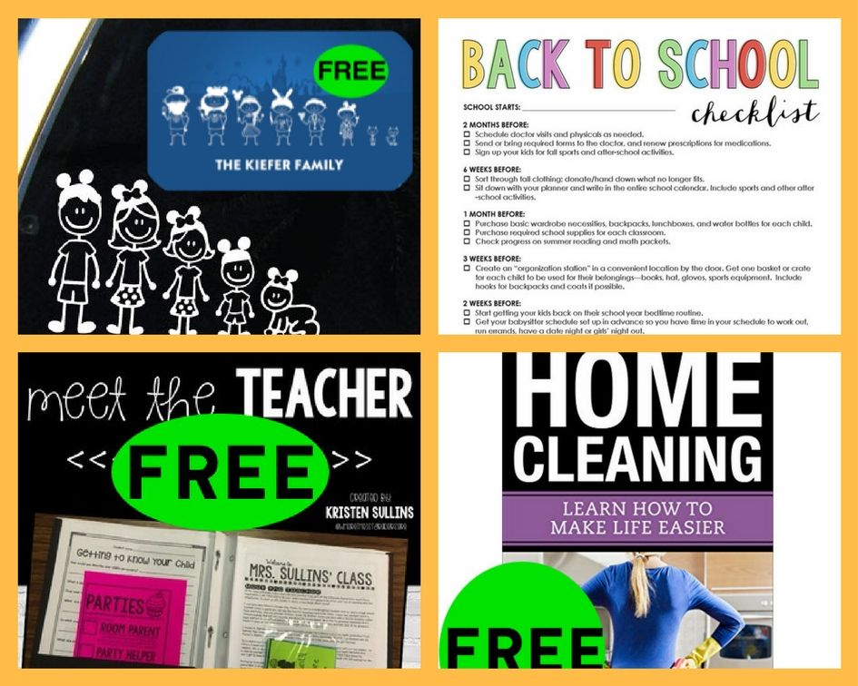 FOUR (4!) FREEbies: Disney Family Car Decal, Back To School Checklist, Back To School Printables and Home Cleaning eBook!