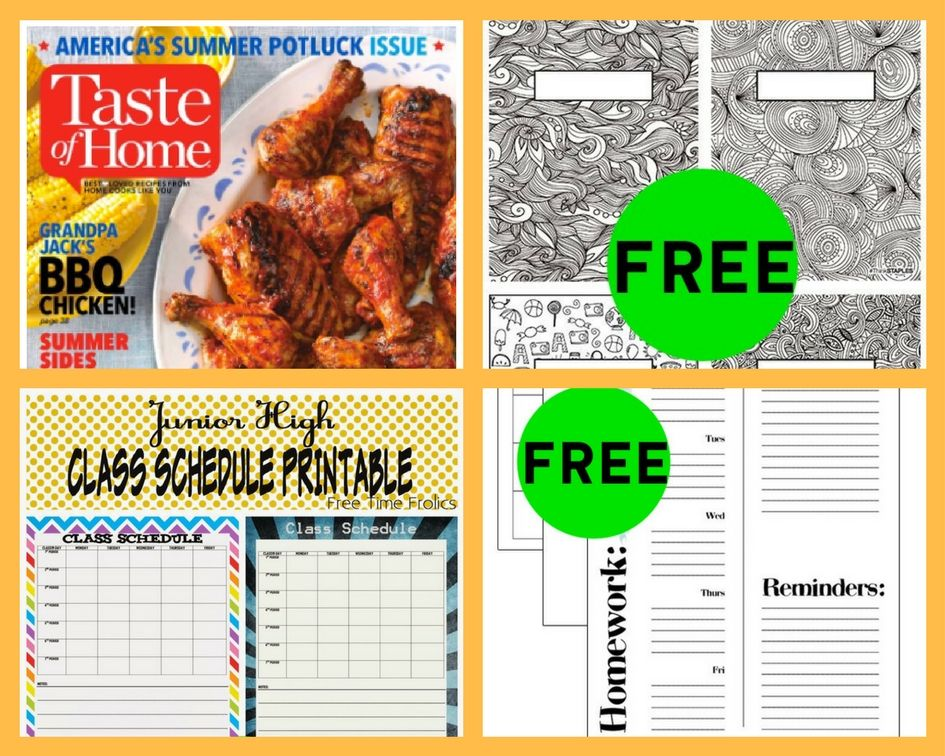 FOUR (4!) FREEbies: Annual Subscription to Taste of Home Magazine, Binder Covers, Class Schedule Printable and Student Planner!