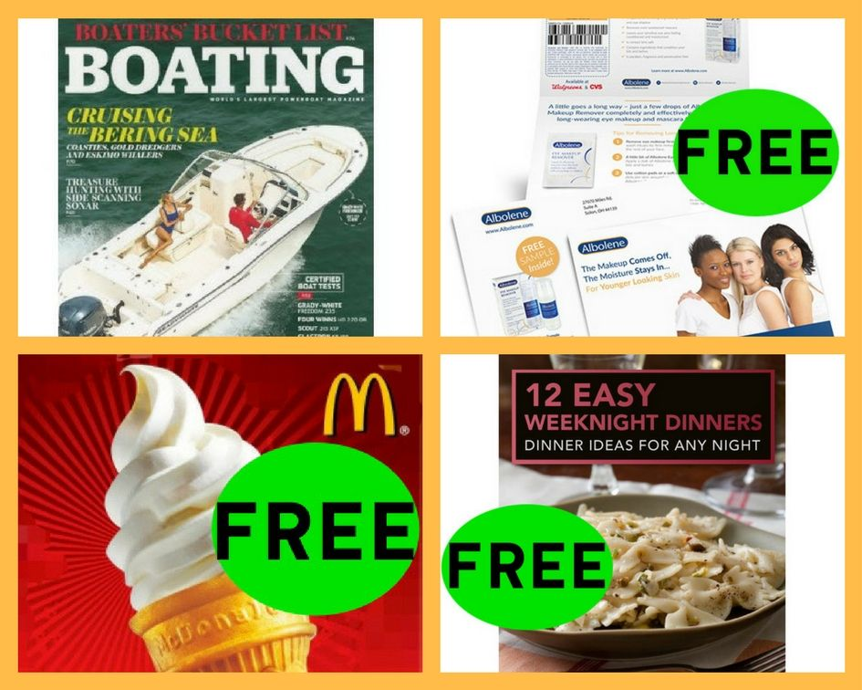 FOUR (4!) FREEbies: Annual Subscription to Boating Magazine, Albolene Eye Makeup Remover, Mcdonald's Soft Serve and Easy Weeknight Dinner eCookBook!