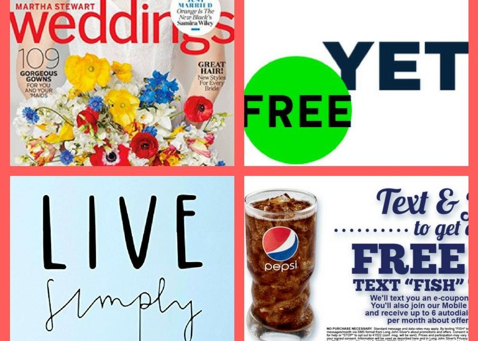 FOUR (4!) FREEbies: Annual Subscription to Martha Stewart Wedding Magazine, Yeti Sticker and Digital Catalog, Live Simply: Declutter Your Environment eBook and Large Drink!