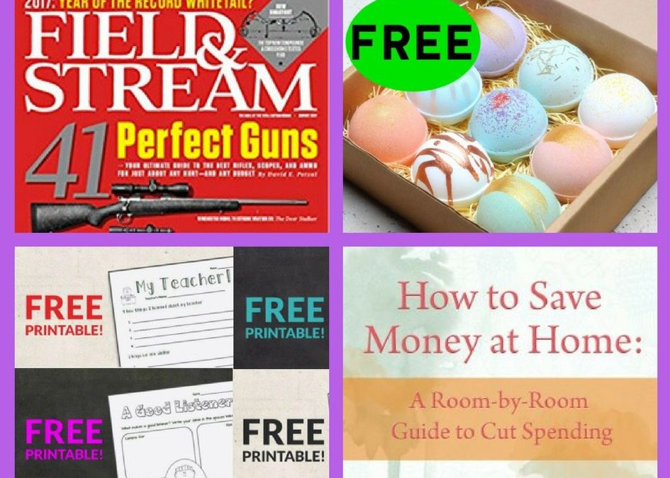 FOUR (4!) FREEbies: Annual Subscription to Field & Stream Magazine, Bath Bomb, Back To School Classroom Printables and How to Save Money at Home eBoo!