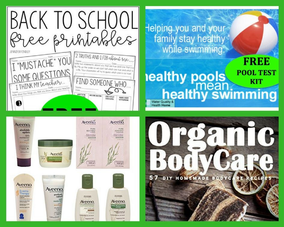 FOUR (4!) FREEbies: Back to School FREE Printables, Pool Test Kit, Aveeno Samples and Organic BodyCare eBook!