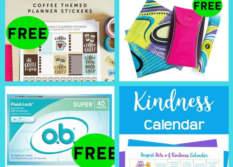 FOUR (4!) FREEbies: Coffee Themed Planner Printables!, Kotex Products, o.b. Original Feminine Product and August Acts of Kindness Calendar!