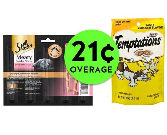 TWO (2!) FREE + 21¢ Overage on Whiskas Temptations or Sheba Meaty Stick Treats at Publix! ~ Starts Weds/Thurs!
