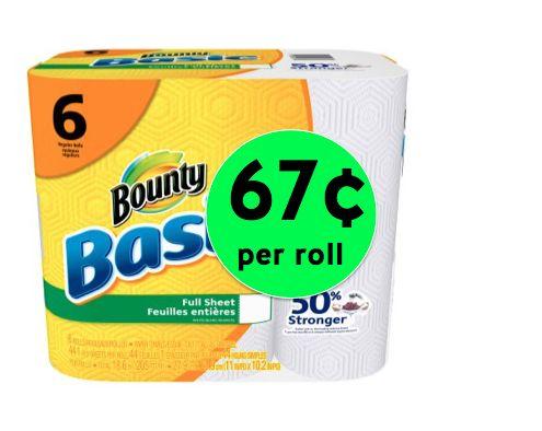 SCORE Bounty Basic MEGA Paper Towels Only 67¢ per Roll at Winn Dixie! (4/28-4/29)