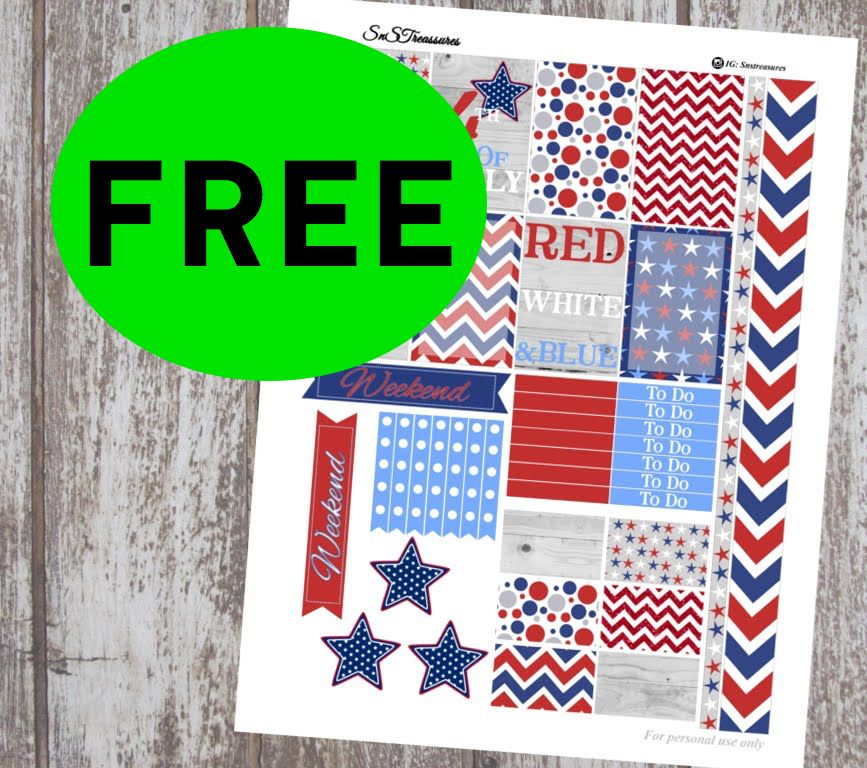 FREE 4th of July Printable Planner Stickers!