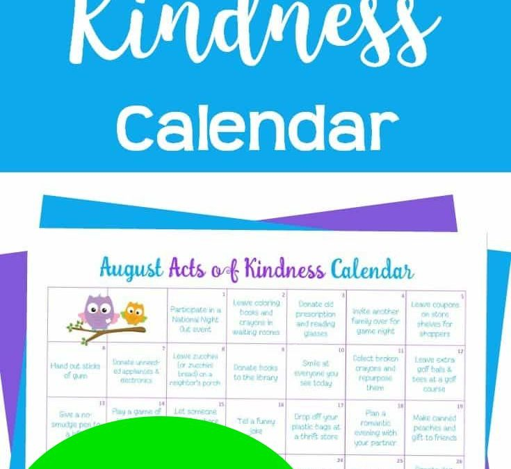FREE August Acts of Kindness Calendar!