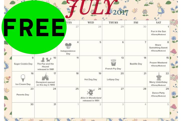 FREE July 2017 Disney Printable Calendar!