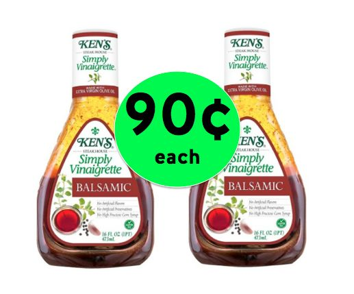 Your Salad Wants This Deal! Pick Up TWO (2!) Bottles of Ken's Simply Vinaigrette Dressing for ONLY 90¢ EACH! ~Right Now!