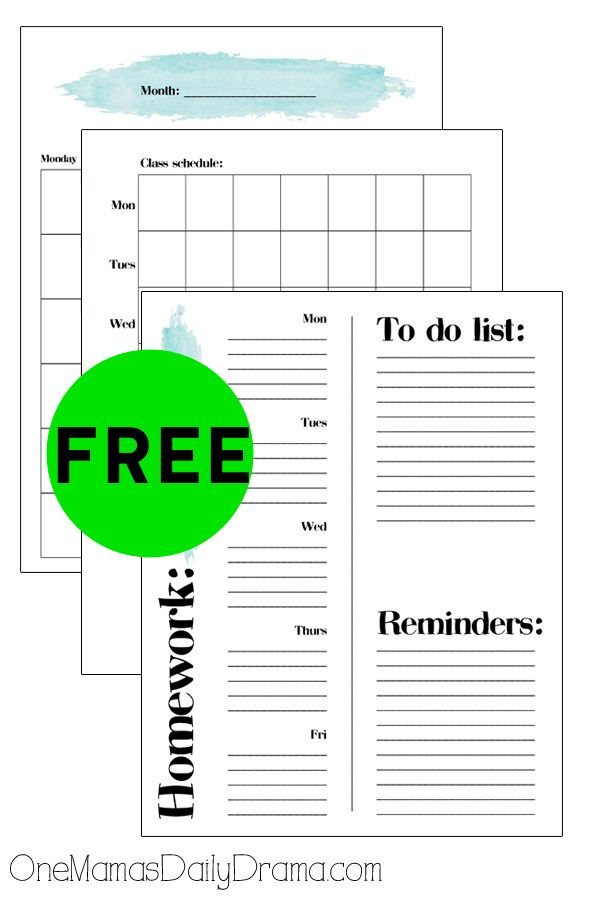 FREE Printable Student Planner!