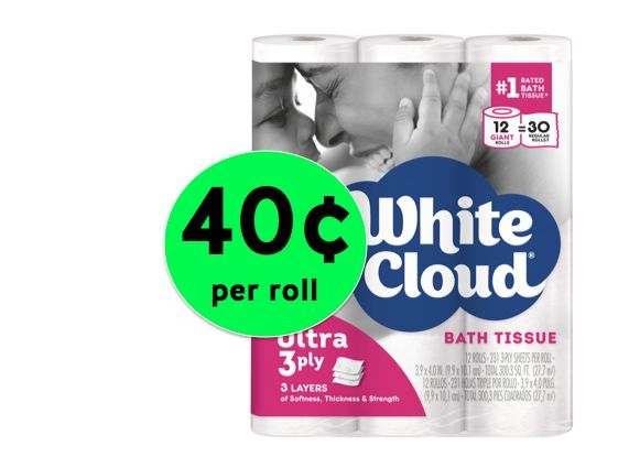 Pick Up White Cloud 3-Ply Bath Tissue ONLY 40¢ Per GIANT Roll at Walmart! ~ Right Now!