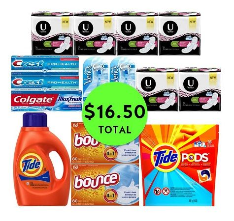For Only $16.50 TOTAL, Get (2) Razors, (3) Toothpastes, (4) Laundry Supplies & (6) U by Kotex Products This Week at CVS!