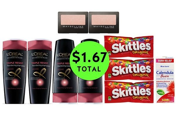 For Only $1.67 TOTAL, Get (1) Burn Cream, (2) Eye Shadows, (3) Candy Singles & (4) L'Oreal Hair Care This Week at CVS!
