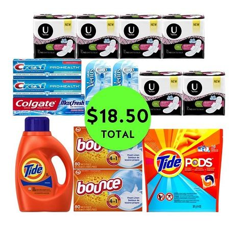 For Only $18.50 TOTAL, Get (2) Razors, (3) Toothpastes, (4) Laundry Supplies & (6) U by Kotex Products at CVS! ~ Ad Starts Today!
