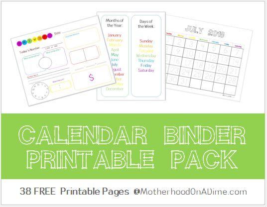 FREE Calendar Binder Printable Pack