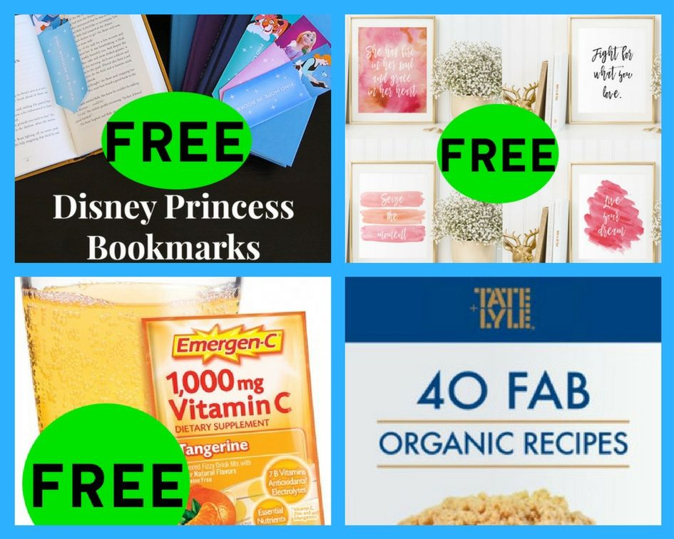 FOUR (4!) FREEbies: Disney Princesses Bookmarks, Inspirational Quote Printables, Emergen-C Packet and 40 Fab Organic Recipes eBook!