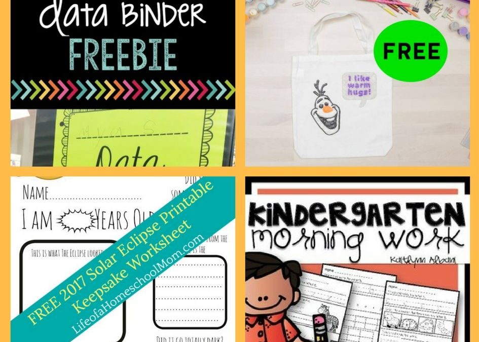 FOUR (4!) FREEbies: Data Binder Printable, Lovable Olaf Template, Solar Eclipse Keepsake Worksheet and Kindergarten Morning Work Printables!