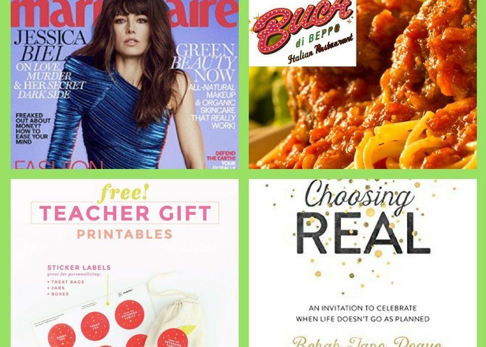 FOUR (4!) FREEbies: Annual Subscription to Marie Claire Magazine, Buca di Beppo Pasta, Printable Teacher Gift Ideas and Choosing Real eBook!