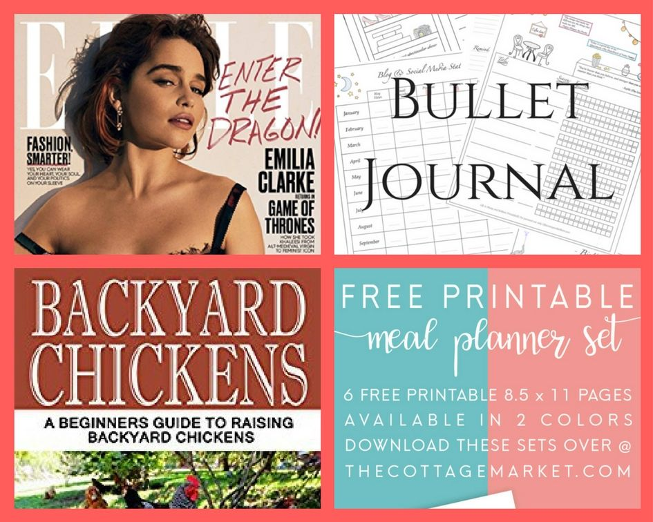 FOUR (4!) FREEbies: Annual Subscription to Elle Magazine, Bullet Journal Printables, Backyard Chickens eBook and Printable Meal Planner!