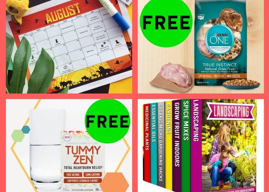 FOUR (4!) FREEbies: Disney August Calendar, Purina One Cat Food, Tummy Zen Heartburn Relief and Gardening Book Set!