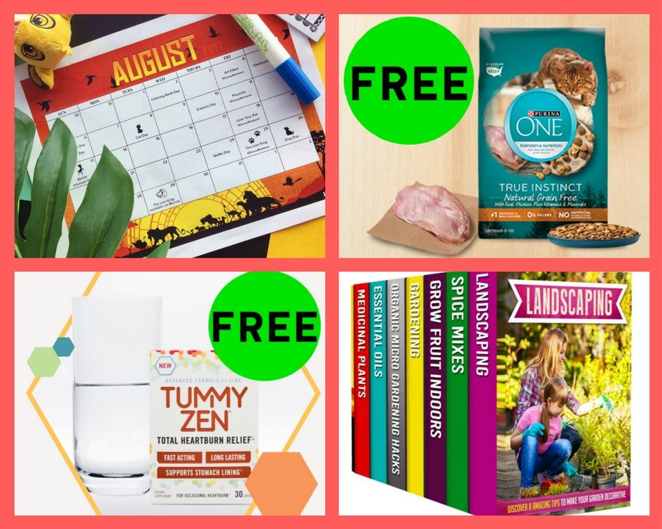 FOUR (4!) FREEbies: Disney August Calendar, Purina One Cat Food, Tummy Zen Heartburn Relief and Gardening Book Set!