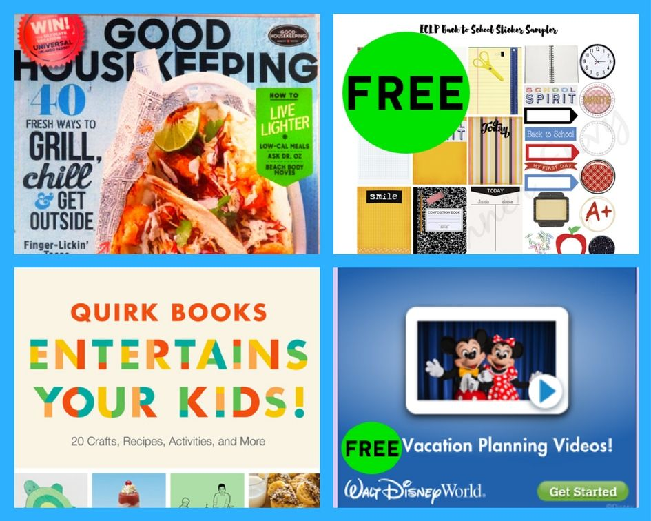FOUR (4!) FREEbies: Annual Subscription to Good Housekeeping Magazine, Back to School Planner Printables, Entertain Your Kids Craft eBook and Disney Vacation DVD!