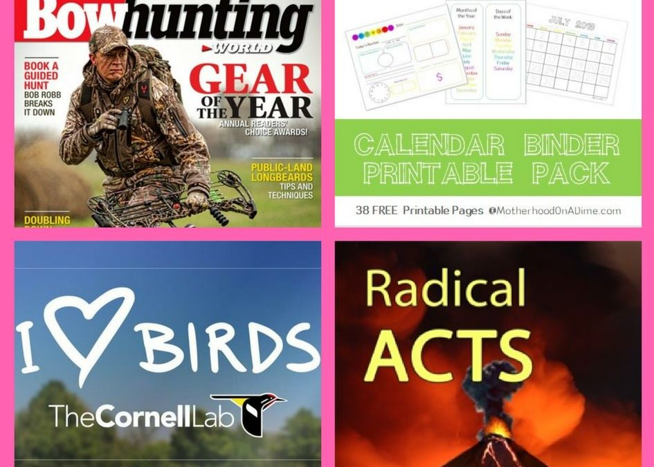 FREEbies: Annual Subscription to Bowhunting World Magazine, Calendar Binder