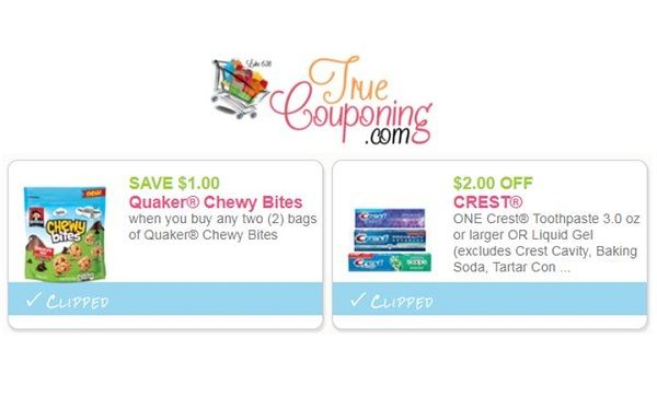 $2 Off Crest Toothpaste RESET & $1 Off Quaker Chewy Bites! ~ Print NOW!