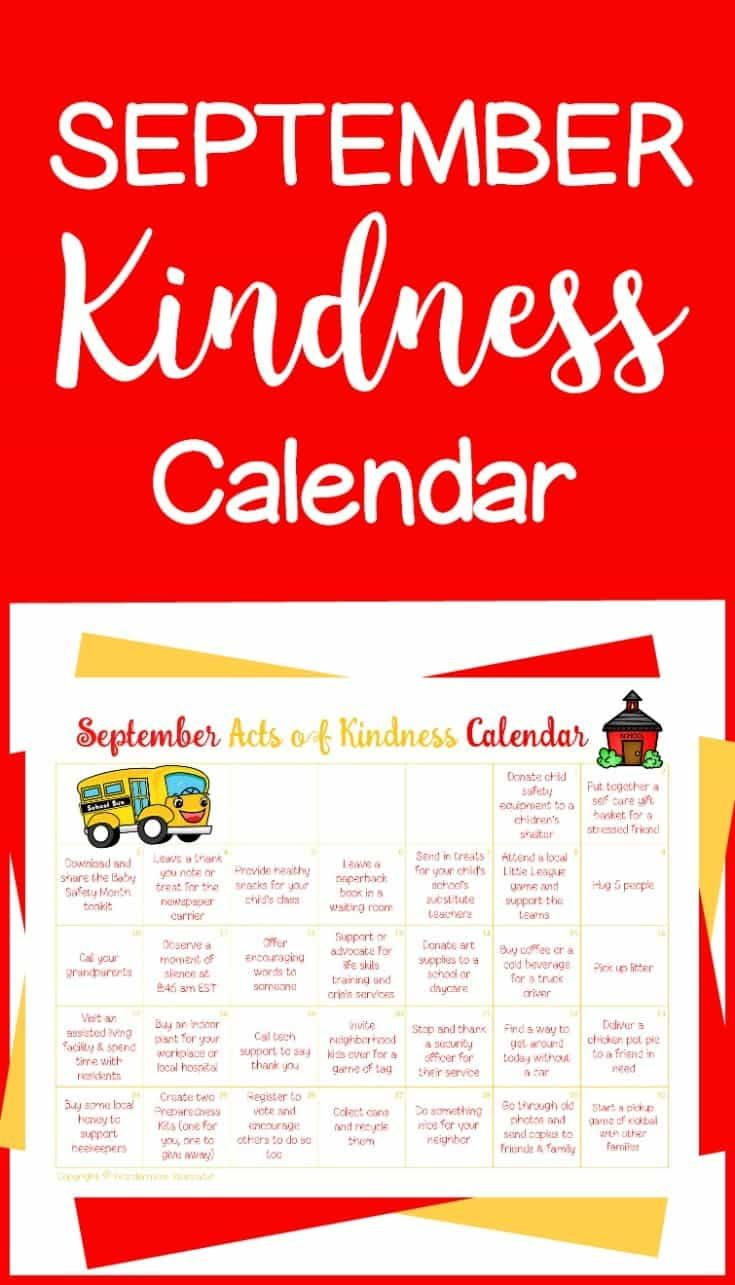 FREE September Acts of Kindness Calendar!