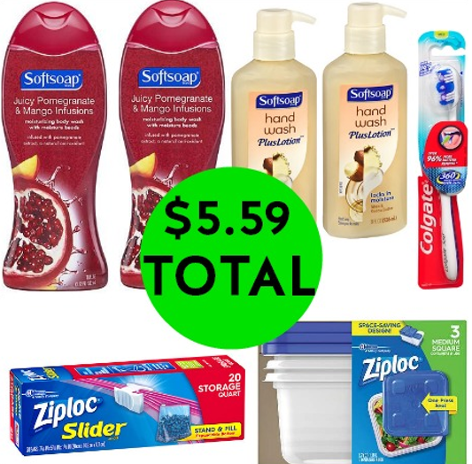 Don't Miss the Over $24 Worth of Softsoap Body Wash, Softsoap Handsoap, Ziploc Storage & Colgate Dental Care You Get This Week at Walgreens for Only $5.59!