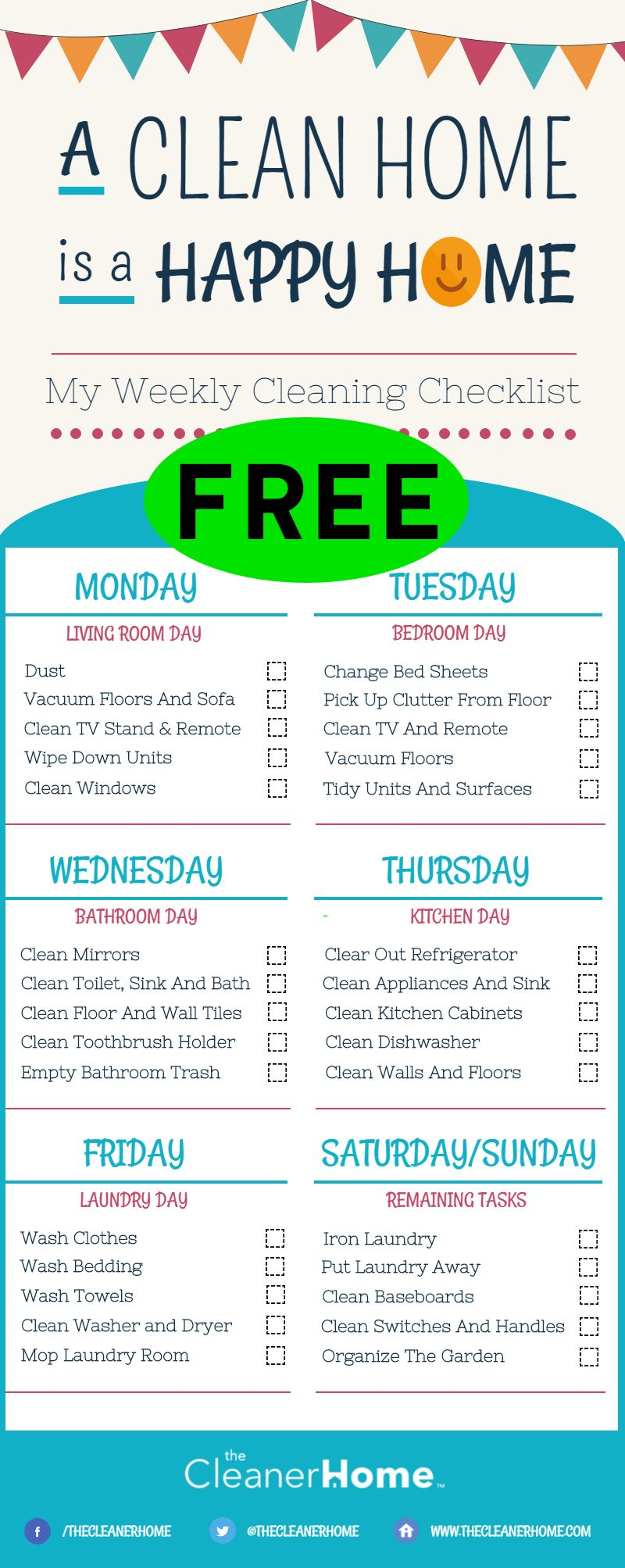 FREE Printable Weekly Cleaning Checklist!