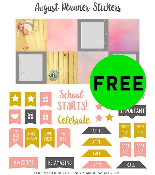 FREE August Printable Planner Stickers!