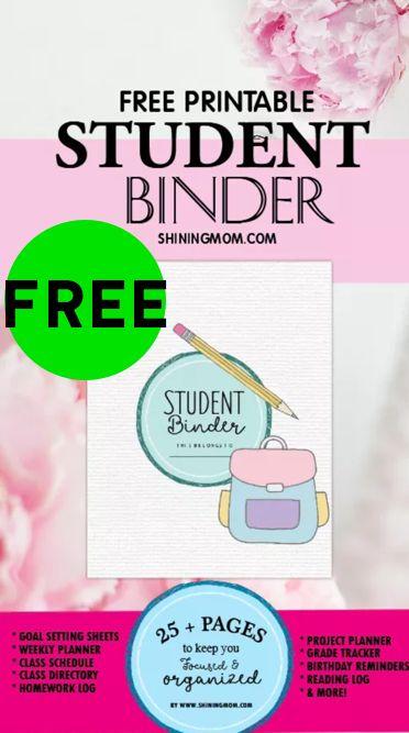 FREE Printable Student Binder!