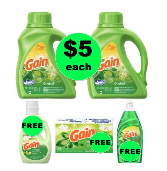 Fox Deal of the Week! Buy TWO (2!) Gain Liquid Laundry Detergent, Get Fabric Softener, Dish Detergent & Dryer Sheets for FREE!
