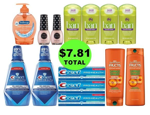 For Only $7.81 TOTAL, Get (1) Hand Soap, (2) Hair Care, (2) Nail Polishes, (2) Mouthwashes, (3) Toothpastes & (4) Deodorants This Week at CVS!