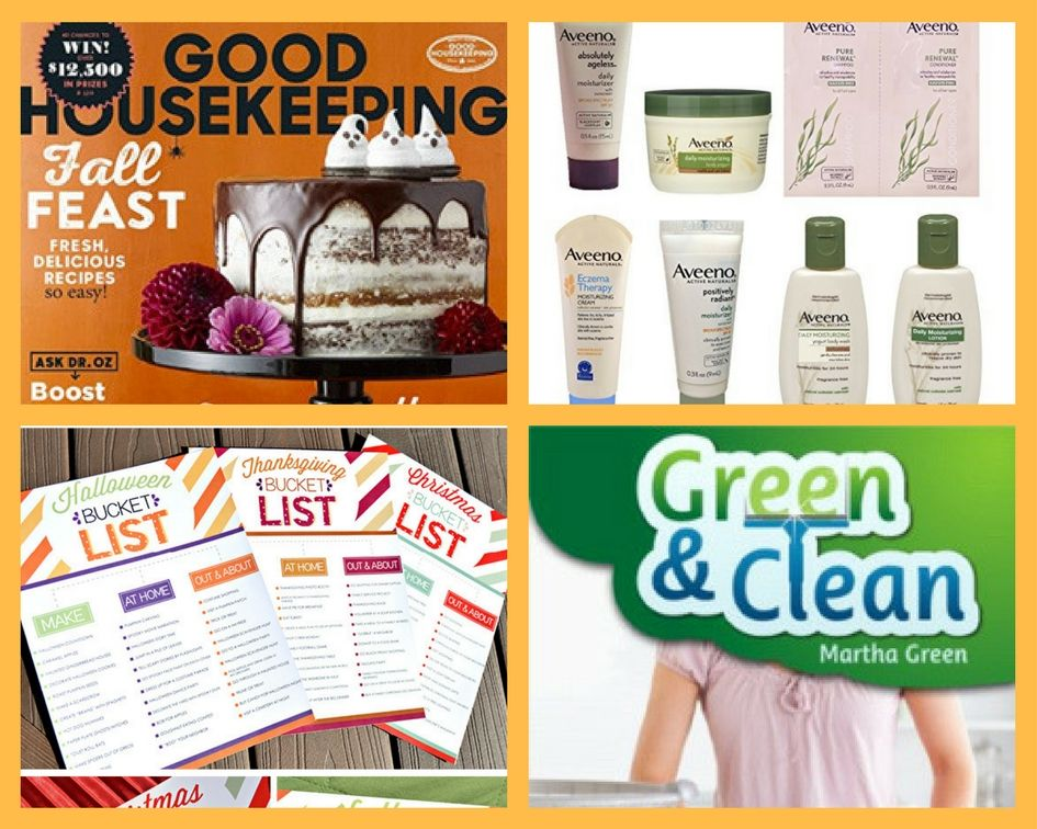 FOUR (4!) FREEbies: Annual Subscription to Good Housekeeping Magazine, Aveeno Products, Printable Family Holiday Bucket Lists and Green & Clean Natural Cleaning eBook!