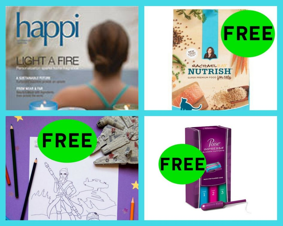 FOUR (4!) FREEbies: Annual Subscription to Happi Magazine, Rachael Ray Nutrish Pet Food, Disney Star Wars Coloring Printable and Poise Impressa Supports!