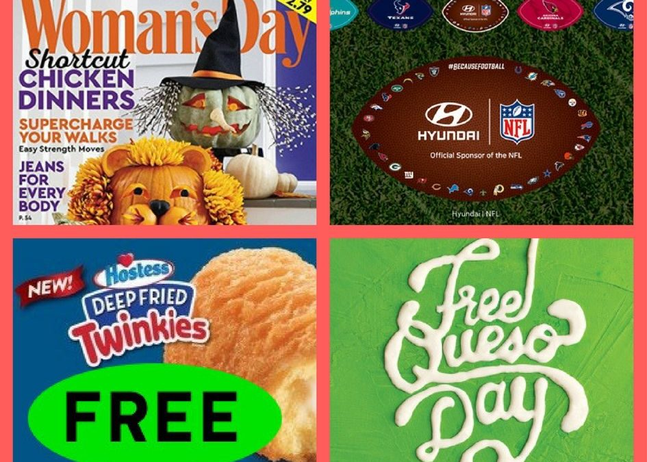 FOUR (4!) FREEbies: Annual Subscription to Woman's Day Magazine, NFL Car Decal, Deep Fried Twinkie at Long John Silvers and Queso Day September 21st!!