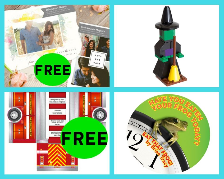 FOUR (4!) FREEbies: Save The Date Kit, Lego Store Building Event, Firetruck Foldup Activity Sheet and Eat That Frog Sticker!