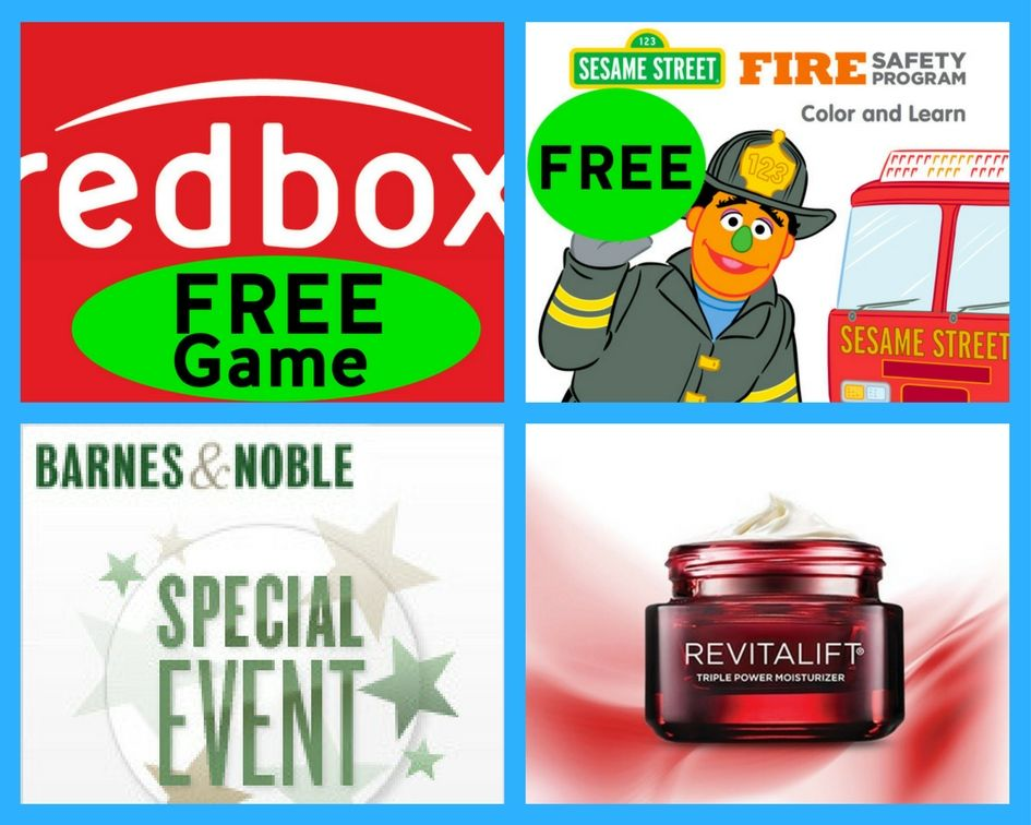 FOUR (4!) FREEbies: Game Rental at Redbox, Sesame Street Fire Safety Coloring and Activity Booklet, FREE Lego Ninjago Make & Take Event and Revitalift Triple Power Moisturizer!