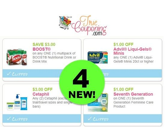 FOUR (4!) *NEW* Coupons for Boost, Advil, Cetaphil ...