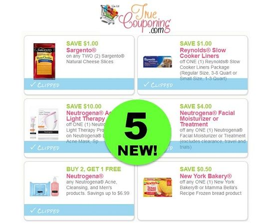 FIVE (5!) *NEW* Coupons for Reynolds, Neutrogena & Sargento! ~ Save Over $20!