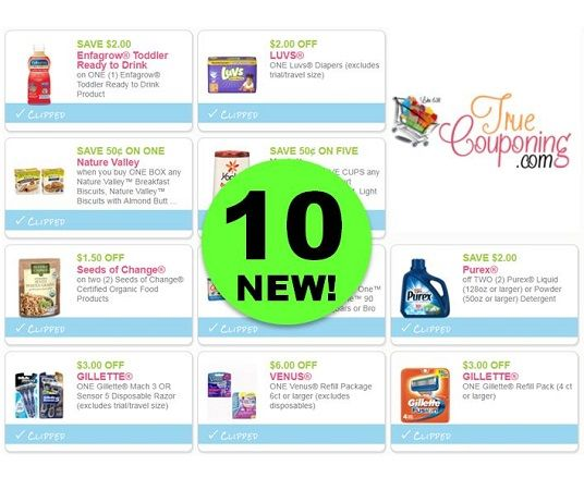 TEN (10!) NEW Coupons or Gillette, Purex, Venus, Luvs Diapers & More!