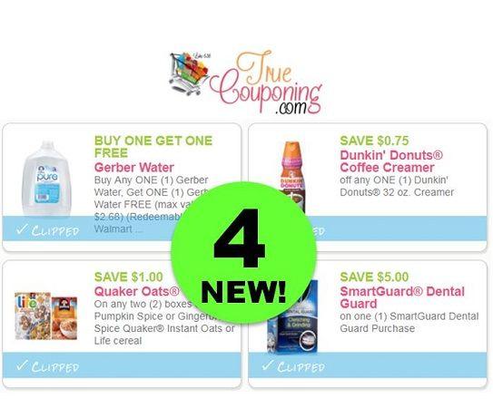 FOUR (4!) **NEW** Coupons for Gerber, Dunkin Donuts, Quaker & SmartGuard! ~ PRINT Now!