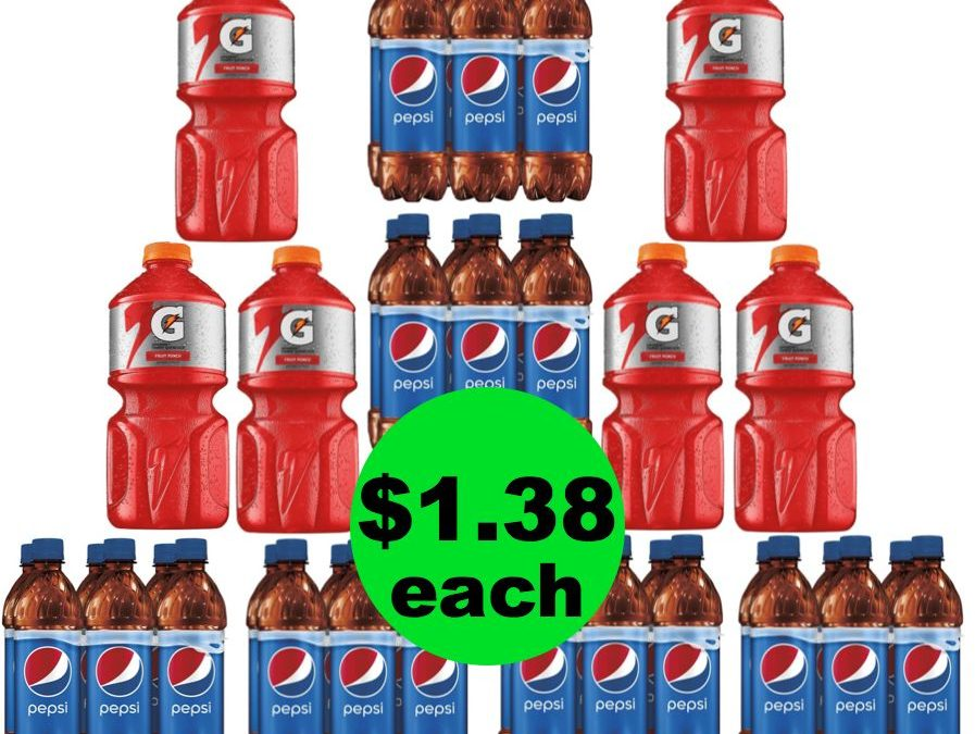Bottled Drink Stock Up Time! Pepsi 6 Packs & Gatorade BIG Bottles Are Only $1.38 Each ~ Hurry, Ends Tues/Weds!