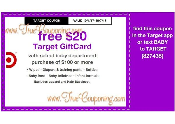 *Heads Up* This Sunday (10/1/17) We're Getting a FREE $5 Gift Card wyb $20+ Personal Care & a FREE $20 Gift Card wyb $100+ Baby Dept. Target Coupon!