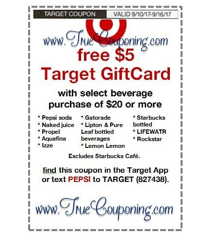 *Heads Up* This Sunday (9/10/17) We're Getting a FREE $5 Gift Card wyb $20 Pepsi & FREE $25 Gift Card wyb $100 Baby Dept. Target Coupon!