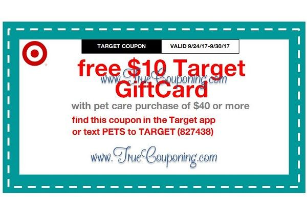 *Heads Up* This Sunday (9/24/17) We're Getting a FREE $10 Gift Card wyb $40 Pet Care Target Coupon!