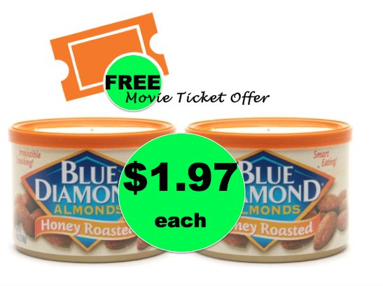 FREE Movie Ticket When You Buy TWO (2!) Blue Diamond Almonds at Walgreens! ~ Ends Today!